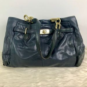Coach navy leather shoulder bag with gold detail